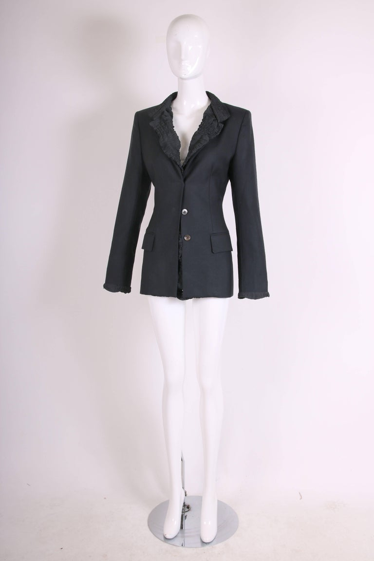 2001 A/H Yves Saint Laurent by Tom Ford Black Jacket with Ruffled Trim In Excellent Condition For Sale In Los Angeles, CA