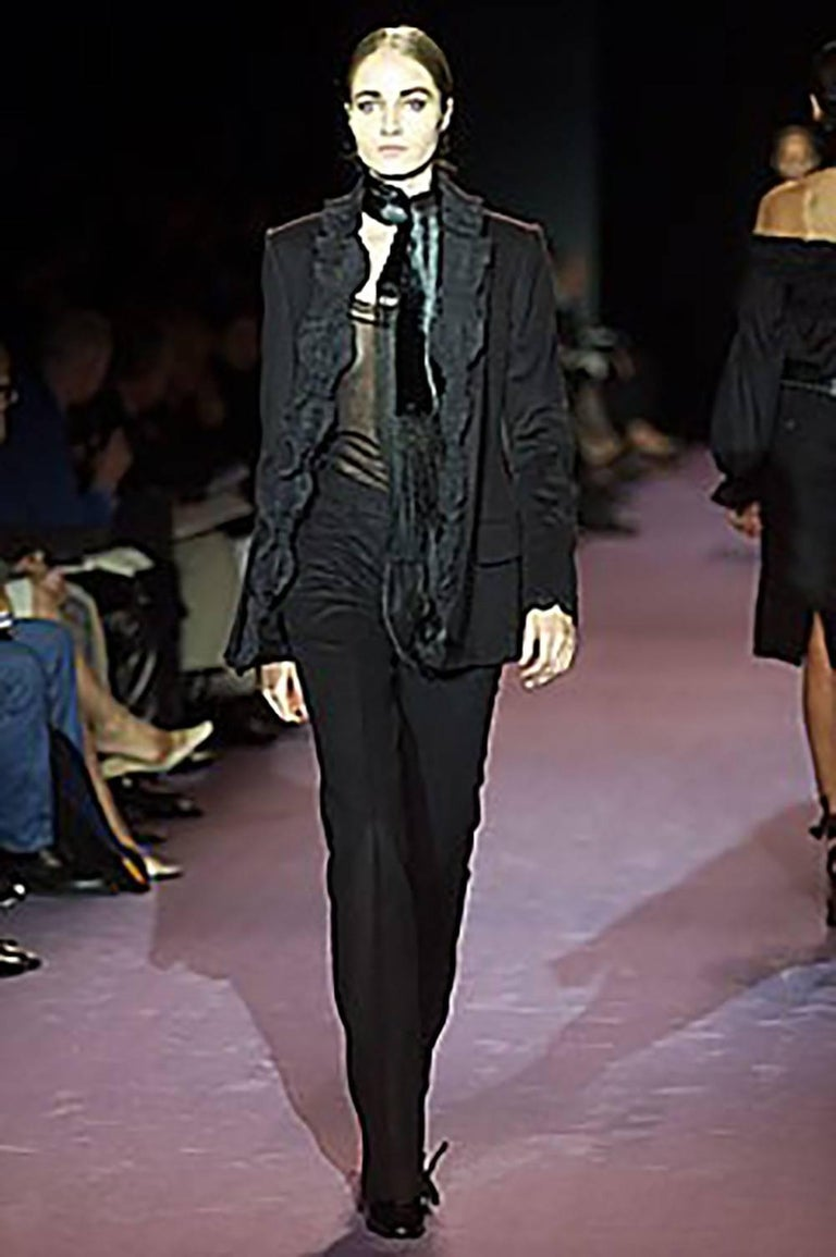 Women's 2001 A/H Yves Saint Laurent by Tom Ford Black Jacket with Ruffled Trim For Sale