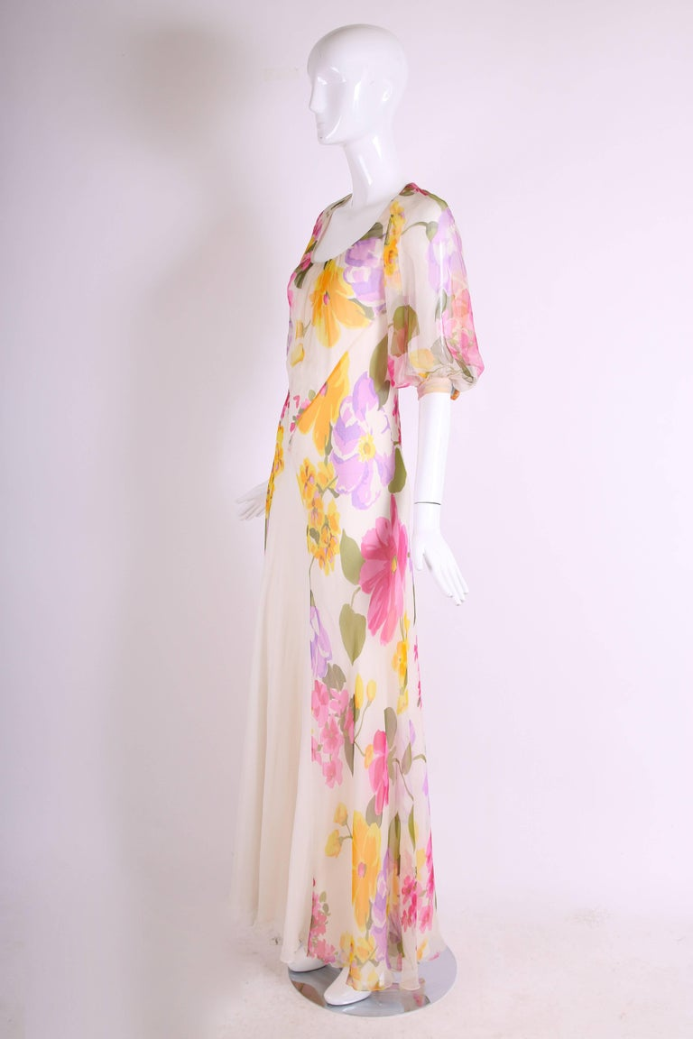 Beige 1970's Stavropoulos Bias Cut Silk Chiffon Floral Evening Gown For Sale