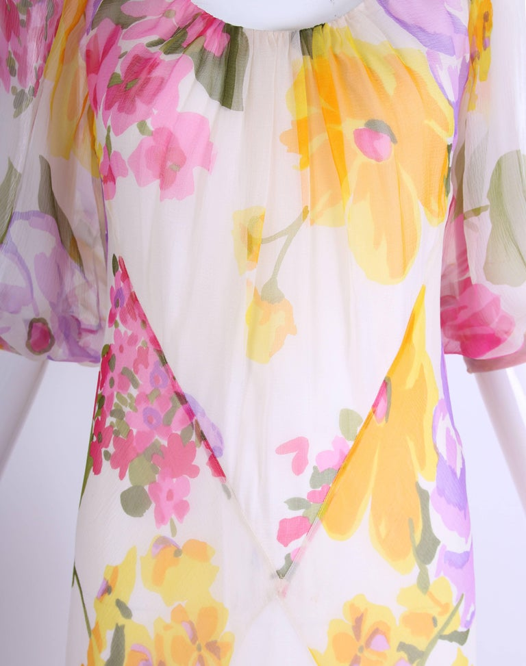 Women's 1970's Stavropoulos Bias Cut Silk Chiffon Floral Evening Gown For Sale