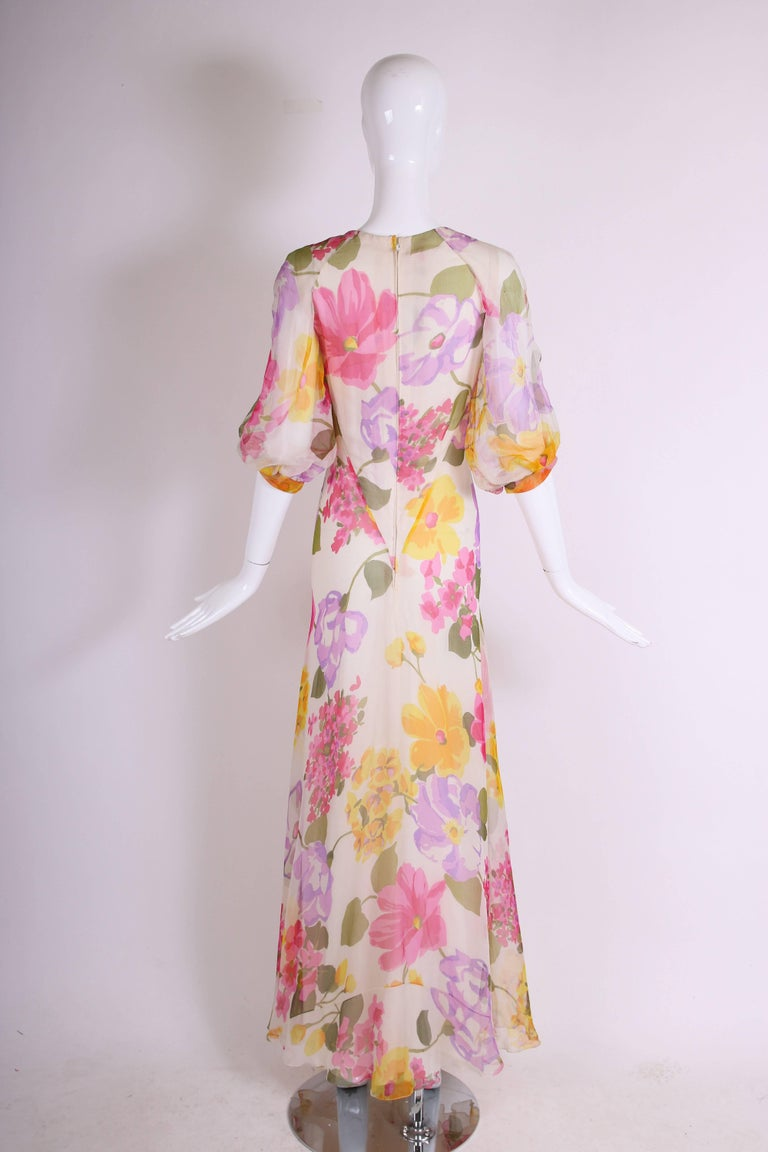 1970's Stavropoulos Bias Cut Silk Chiffon Floral Evening Gown In Excellent Condition For Sale In Los Angeles, CA