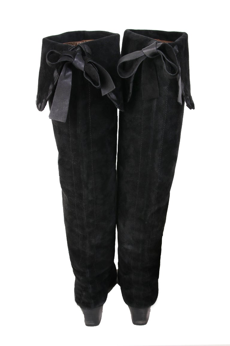 Women's Yves Saint Laurent Vintage Black Suede Thigh-High Boots For Sale