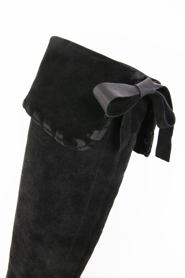 Yves Saint Laurent Vintage Black Suede Thigh-High Boots For Sale 1