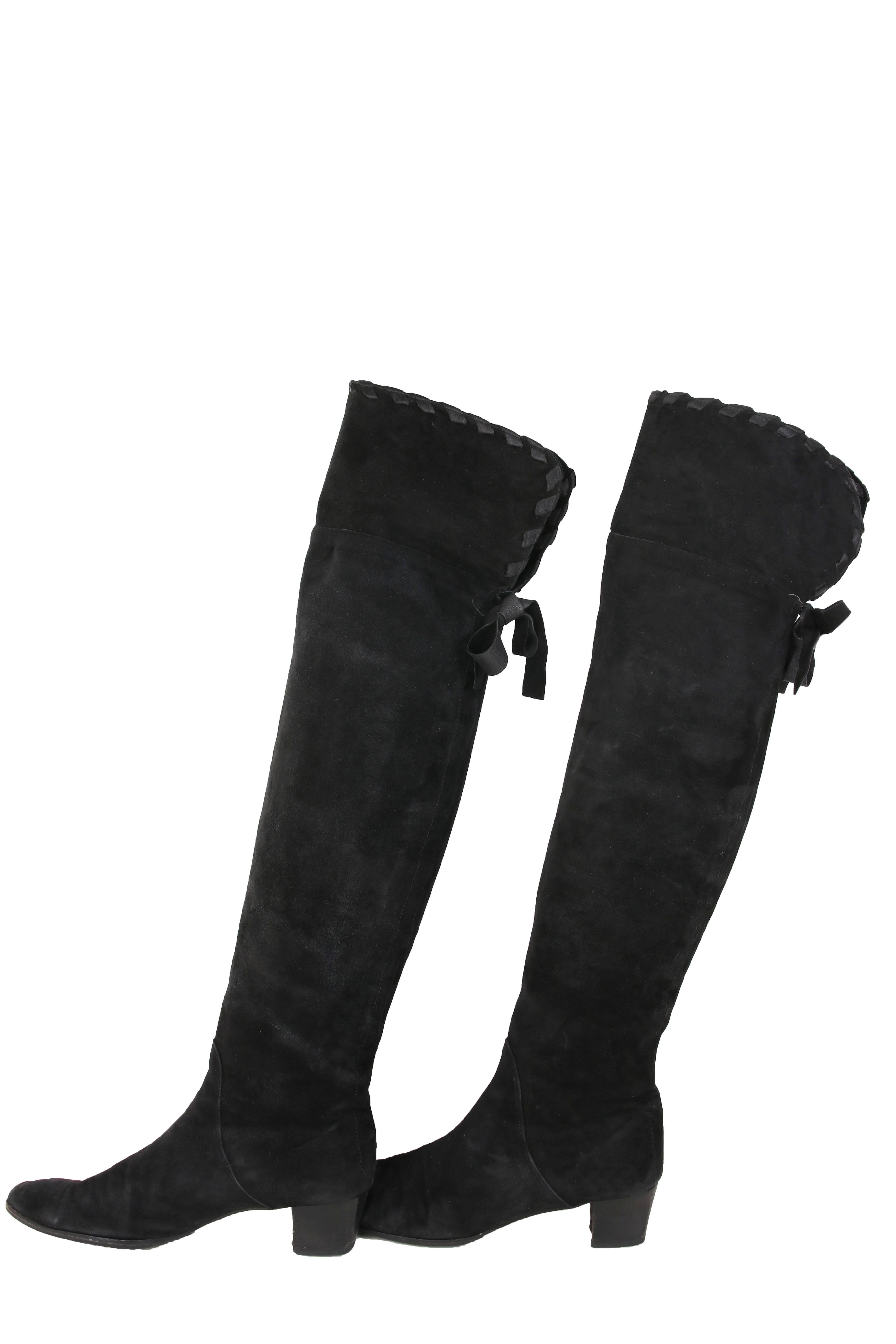 132fe68fb30 ... best price yves saint laurent vintage black suede thigh high boots in  excellent condition for sale