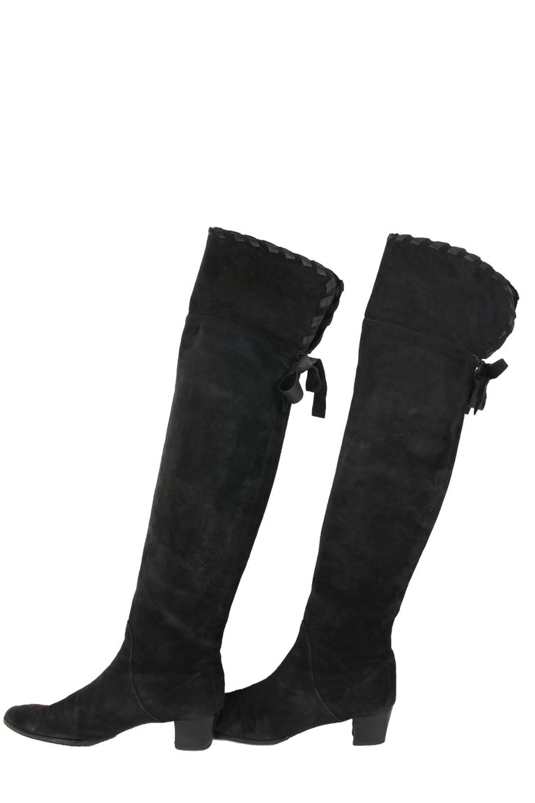 4df74c5c480 Yves Saint Laurent Vintage Black Suede Thigh-High Boots In Excellent  Condition For Sale In