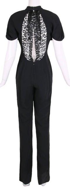 2012 Yves Saint Laurent YSL Black Crepe Jumpsuit w/Lace Illusion Panel at Back
