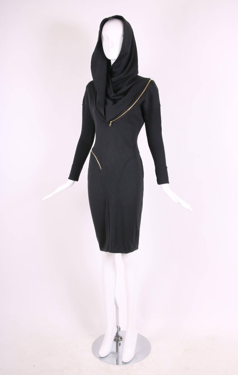 Alaia Museum Quality Black Hooded And Zippered Bodycon Dress, 1986 In Excellent Condition For Sale In Los Angeles, CA