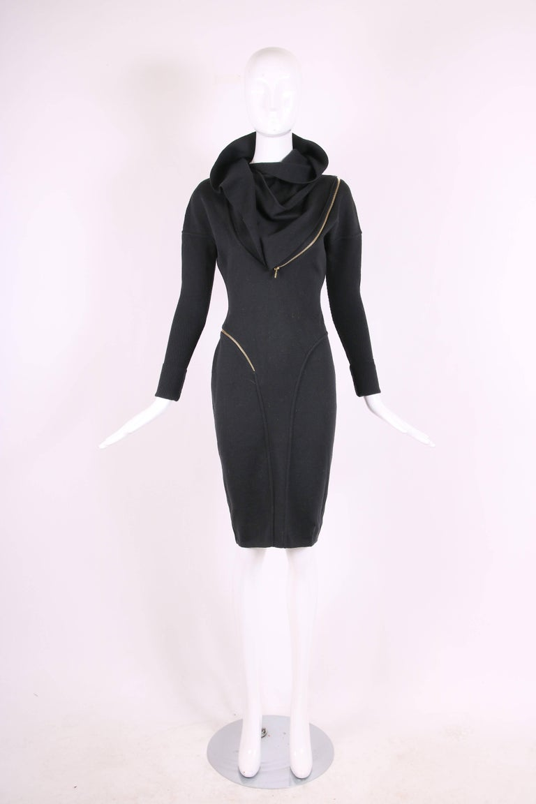 Women's Alaia Museum Quality Black Hooded And Zippered Bodycon Dress, 1986 For Sale