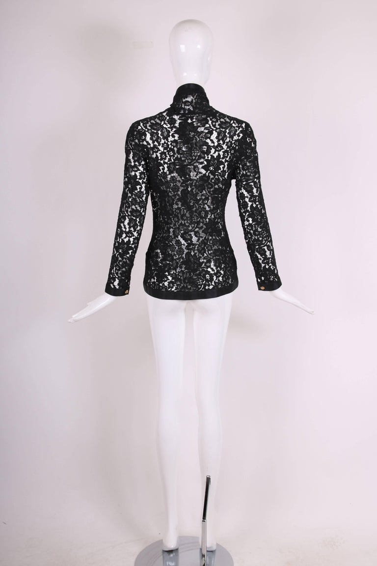 Chanel Black Lace Jacket with Black Silk Trim and Gold tone Camellia Buttons For Sale 2