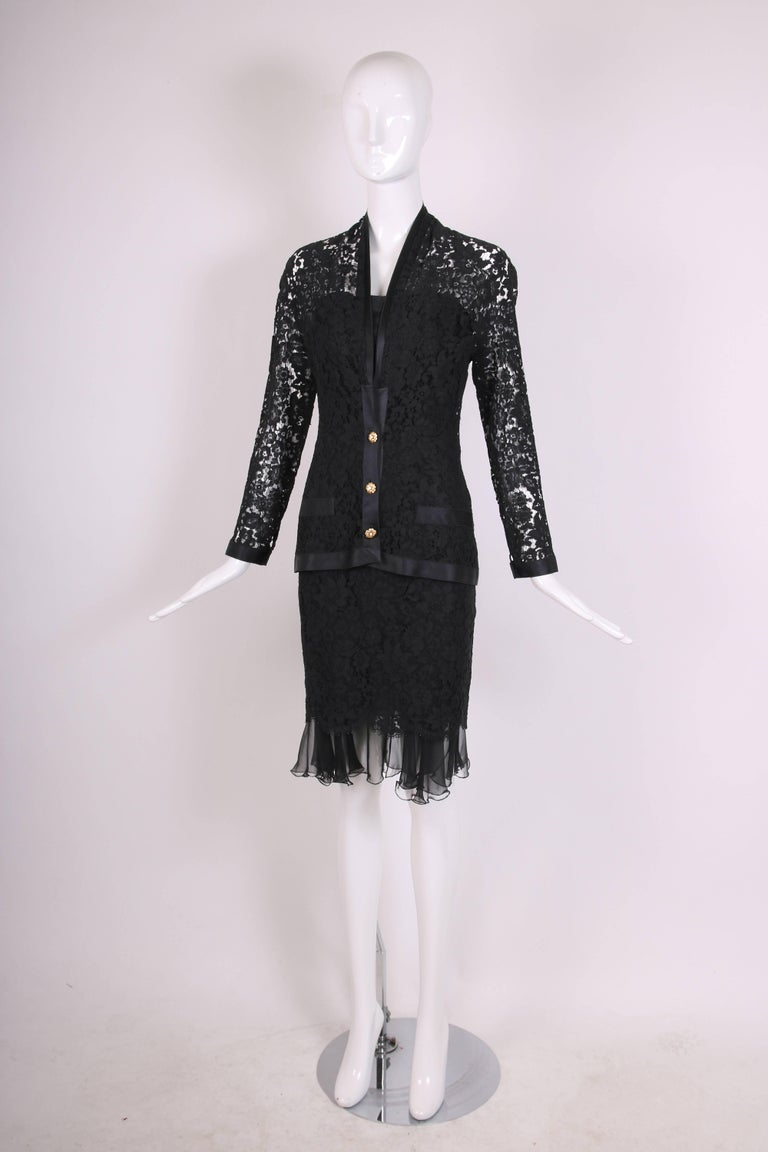 Chanel Black Lace Jacket with Black Silk Trim and Gold tone Camellia Buttons In Excellent Condition For Sale In Los Angeles, CA