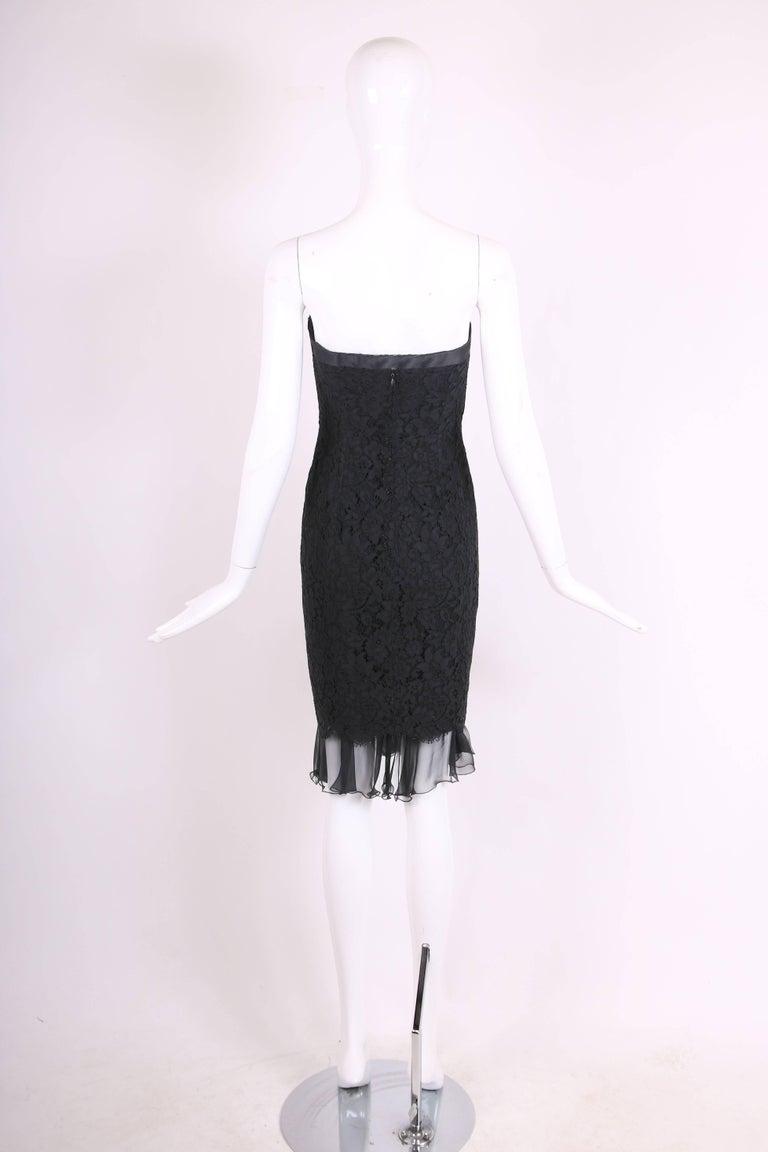 Women's Vintage Chanel Black Lace Strapless Mini Cocktail Dress For Sale