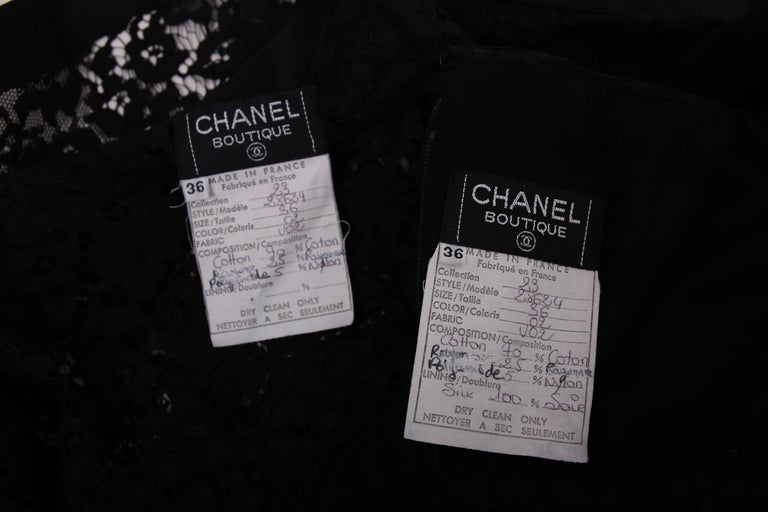 Vintage Chanel Black Lace Strapless Mini Cocktail Dress For Sale 3