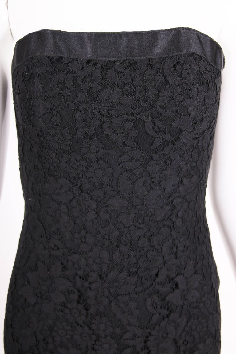 Vintage Chanel Black Lace Strapless Mini Cocktail Dress For Sale 1