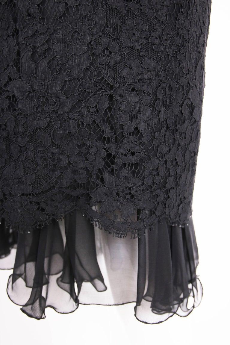 Vintage Chanel Black Lace Strapless Mini Cocktail Dress For Sale 2