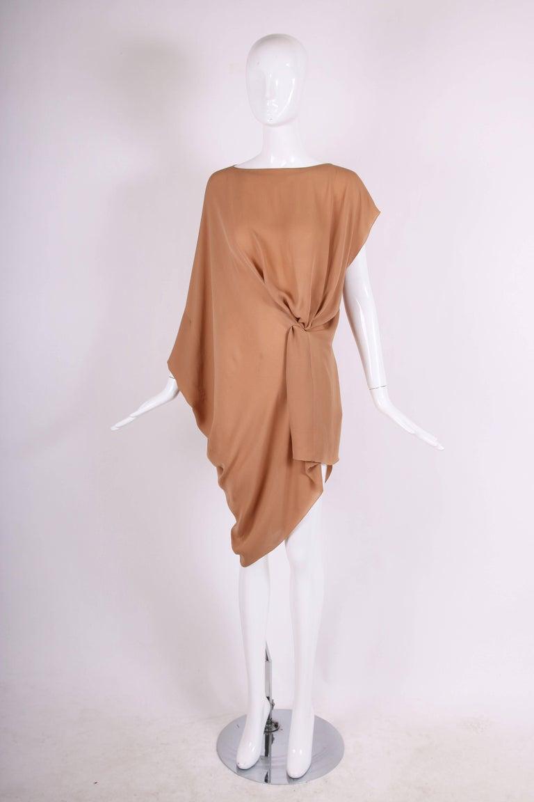Brown Margiela Silk Single-Shoulder Dress Tunic Top For Sale