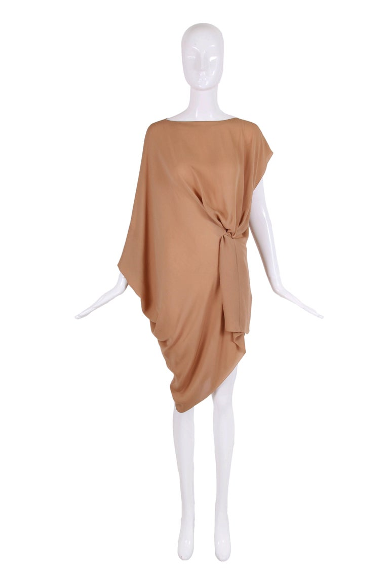 Margiela 100% silk nude-colored single shoulder dress or tunic top. Size 42 - in excellent condition.  MEASUREMENTS: Waist - 34