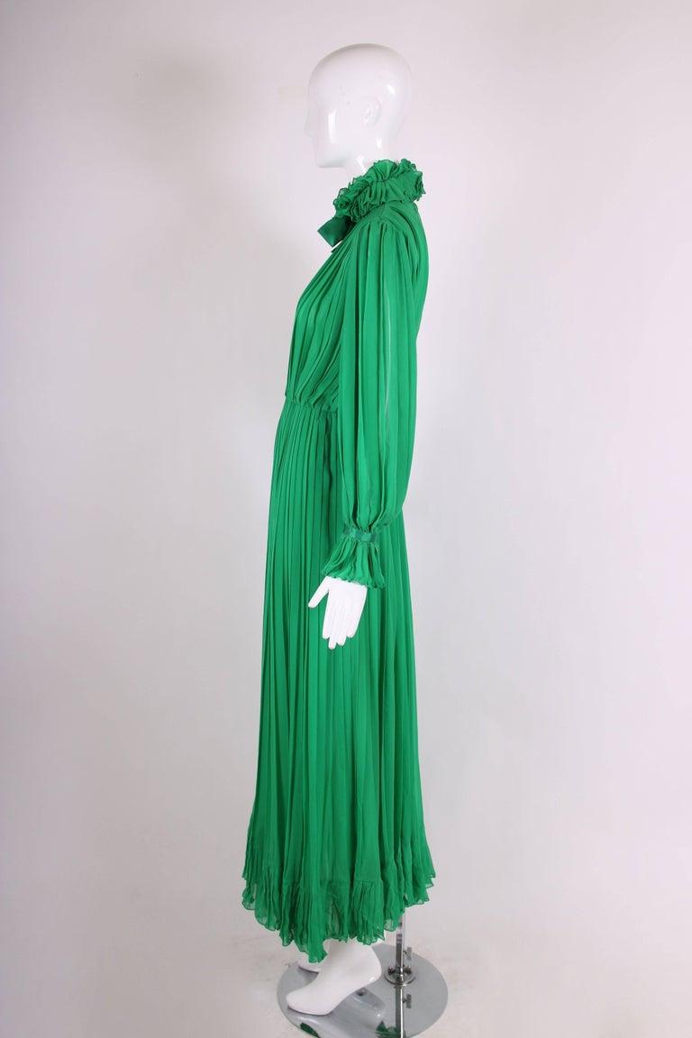 Women's 1970's Bill Blass Green Silk Chiffon Pleated Evening Gown w/Silk Trim  For Sale