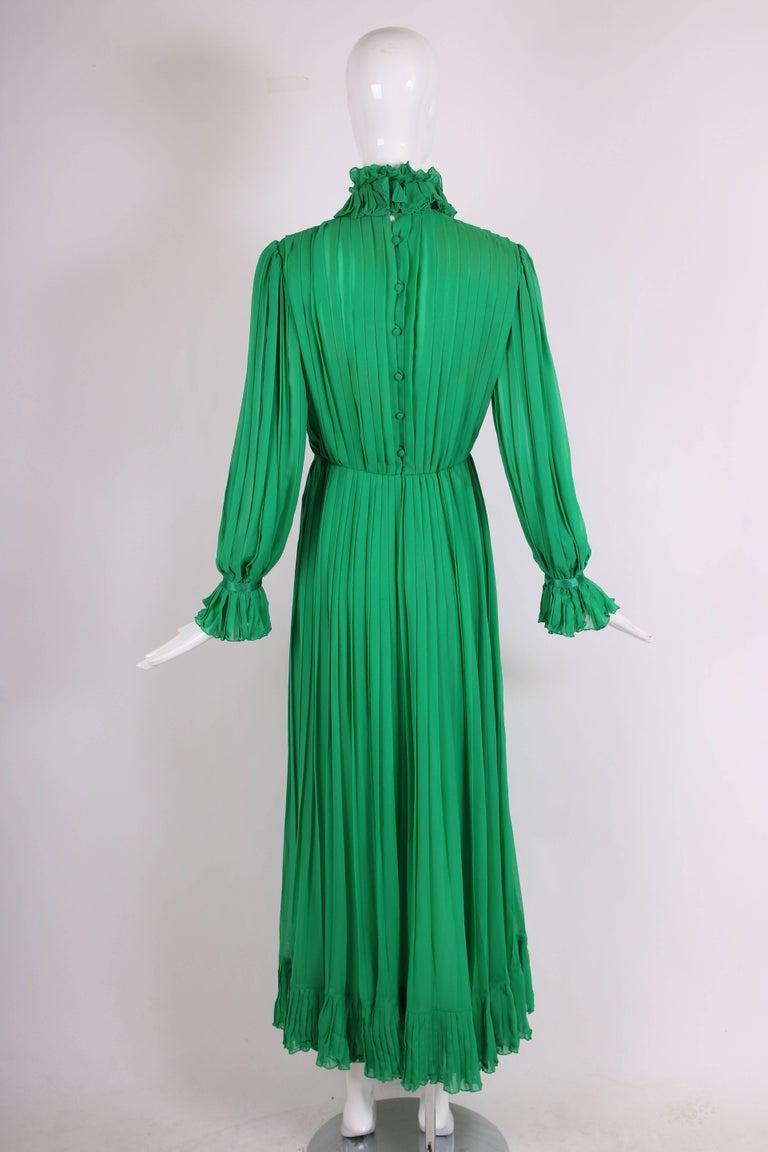 1970's Bill Blass Green Silk Chiffon Pleated Evening Gown w/Silk Trim  For Sale 1