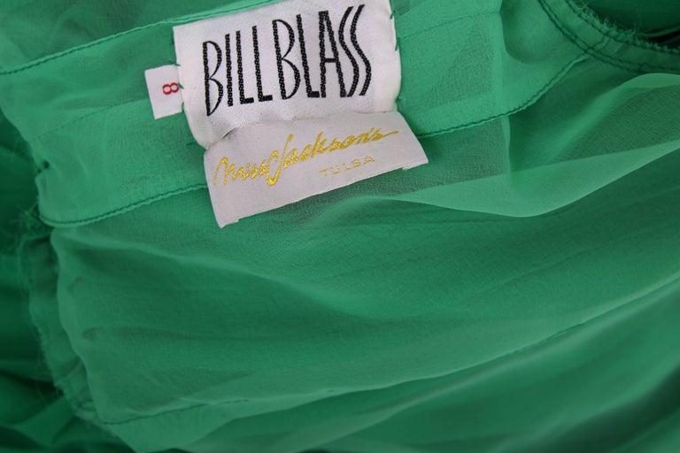 1970's Bill Blass Green Silk Chiffon Pleated Evening Gown w/Silk Trim  For Sale 3