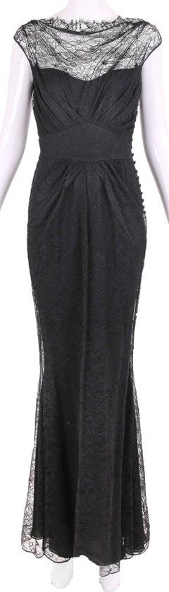 John Galliano Black Lace Cowl Neck Gown w/Mermaid Hem