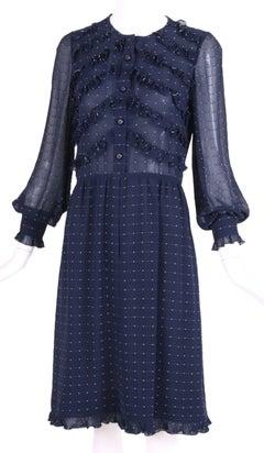 1970's Valentino Haute Couture Navy Blue Silk Ruffle Trim Day Dress