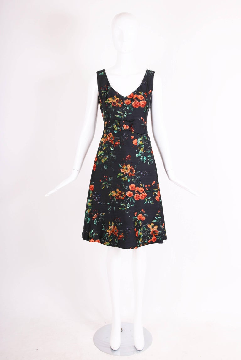 Black 1960's Christian Dior Floral Print Silk Shantung Cocktail Dress For Sale