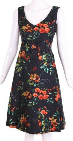 1960's Christian Dior Floral Print Silk Shantung Cocktail Dress