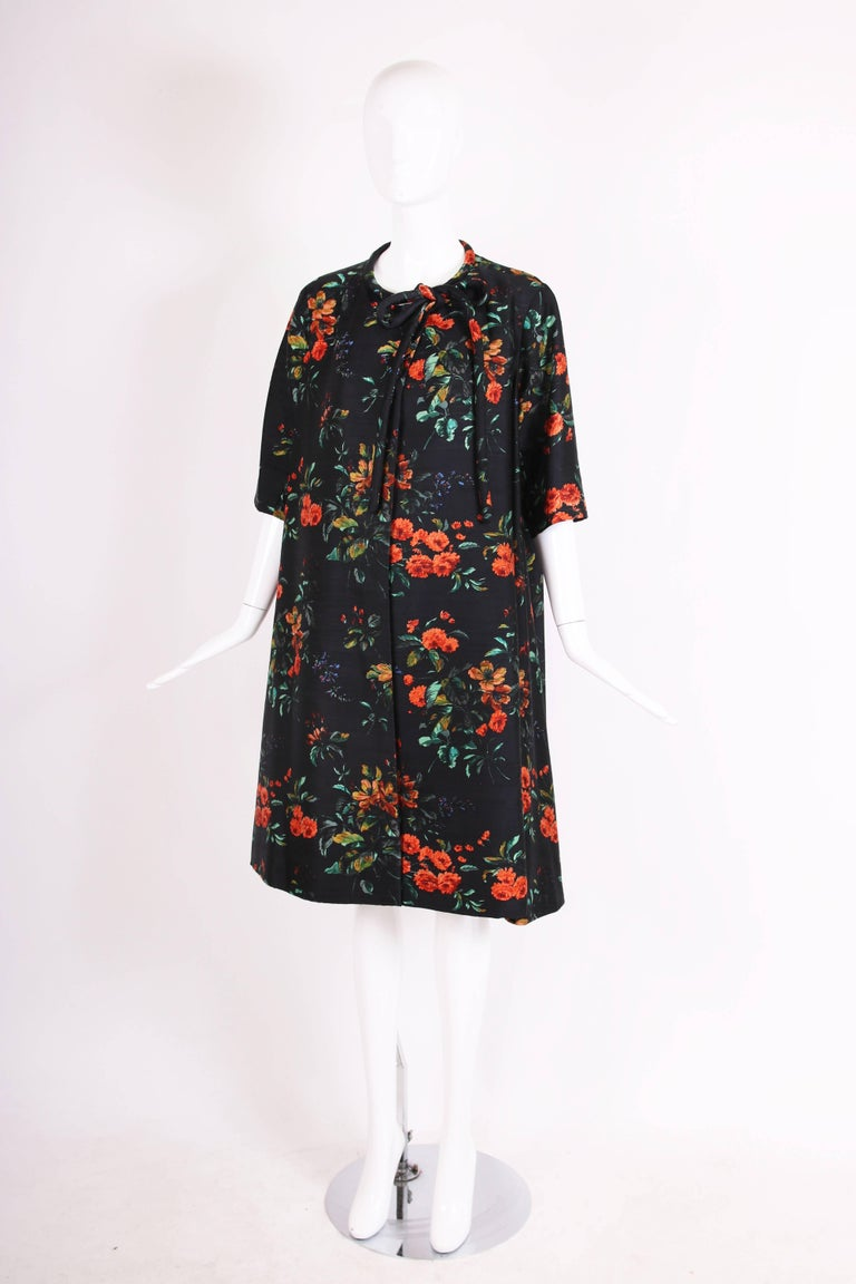 Black 1960's Christian Dior Navy Blue Silk Shantung Swing Coat W/Floral Print For Sale