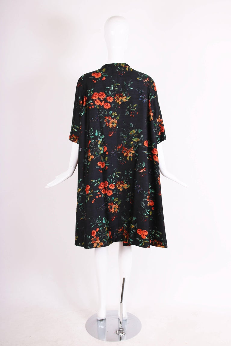 Women's 1960's Christian Dior Navy Blue Silk Shantung Swing Coat W/Floral Print For Sale