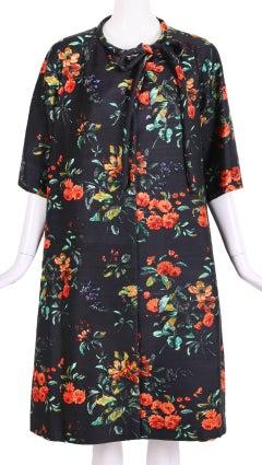 1960's Christian Dior Navy Blue Silk Shantung Swing Coat W/Floral Print