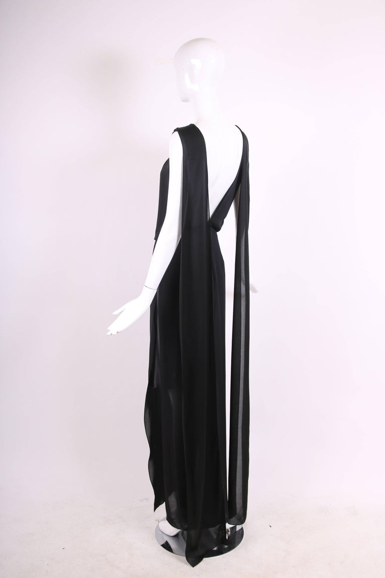 Tom Ford Black Silk Sheath Gown with Deep V-Back and Scarf ...