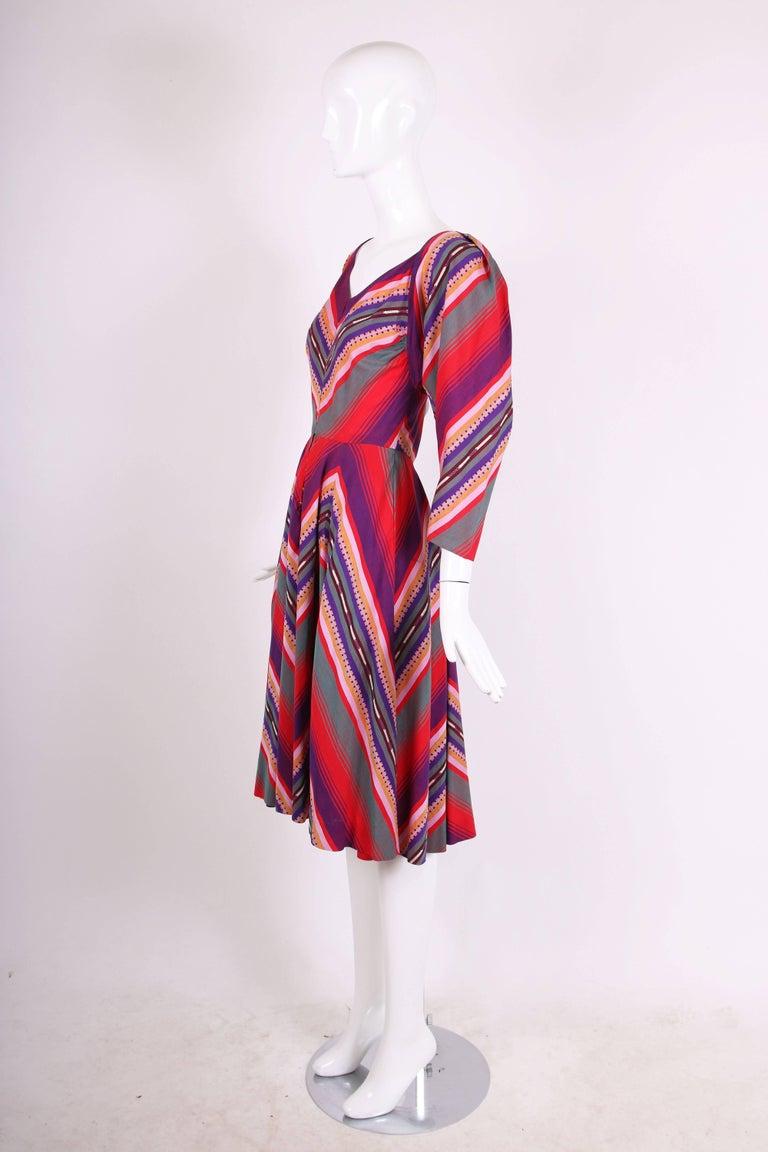 Brown Claire McCardell Multi-colored Cotton Serape Day Dress, 1950s