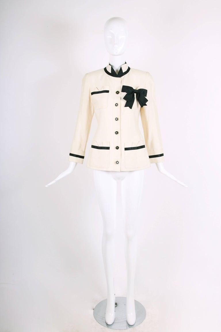 White Vintage Chanel Silk Jacket & Skirt Ensemble w/Silk Bow Motif & CC Logo Buttons