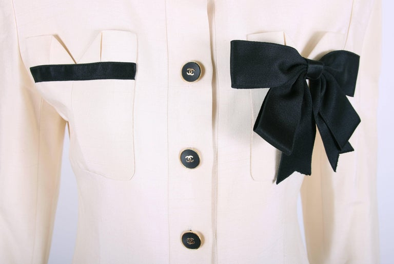 Vintage Chanel Silk Jacket & Skirt Ensemble w/Silk Bow Motif & CC Logo Buttons 2