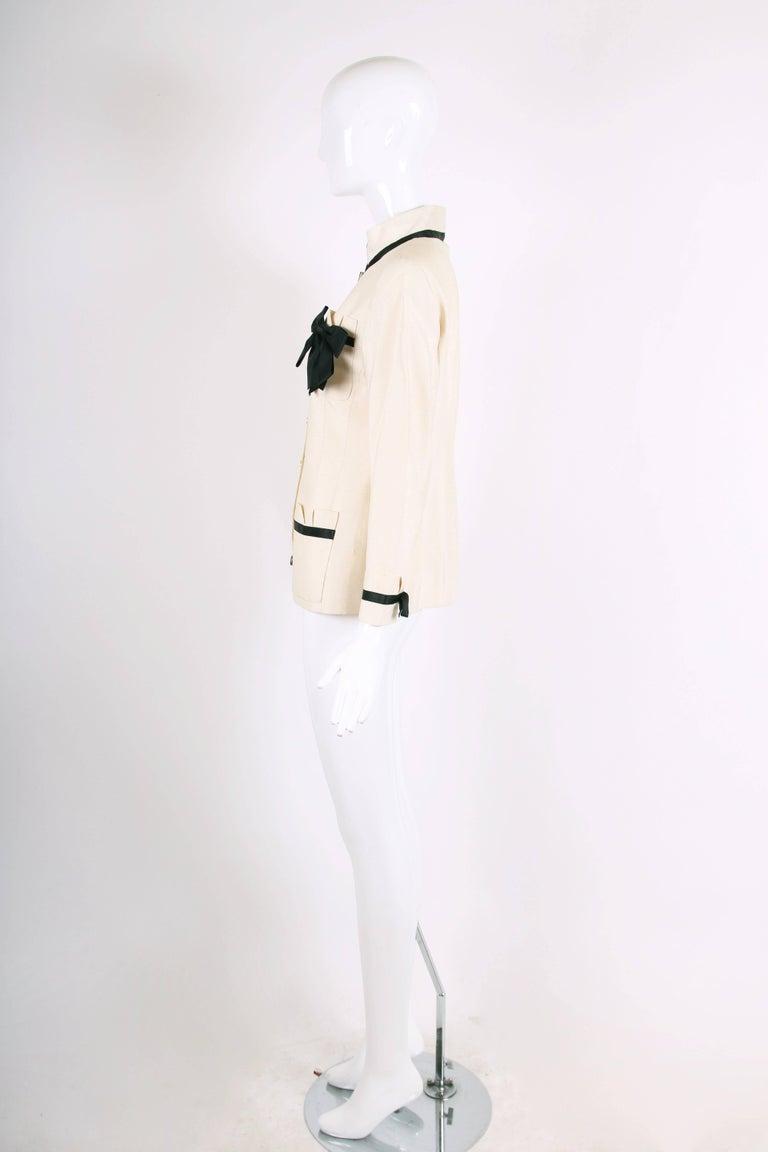 Women's Vintage Chanel Silk Jacket & Skirt Ensemble w/Silk Bow Motif & CC Logo Buttons