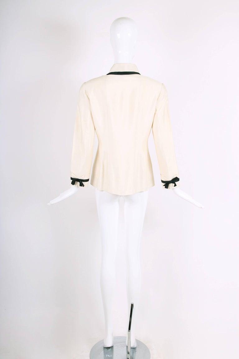 Vintage Chanel Silk Jacket & Skirt Ensemble w/Silk Bow Motif & CC Logo Buttons 1