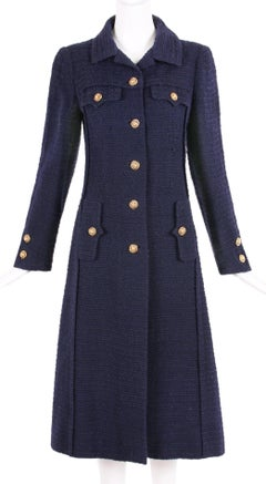 Rare Chanel Haute Couture Navy Boucle Wool Coat w/Lion Head Buttons No.55591