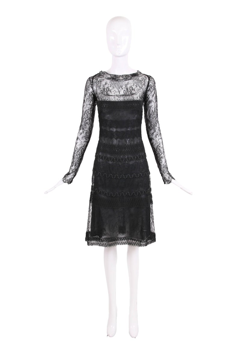 Vintage Guy Laroche couture label black lace illusion cocktail dress with black silk cord trim. Most likely, was designed by Alber Elbaz when he worked for the label - I cannot be sure of this fact but it is my guess. In very good to excellent