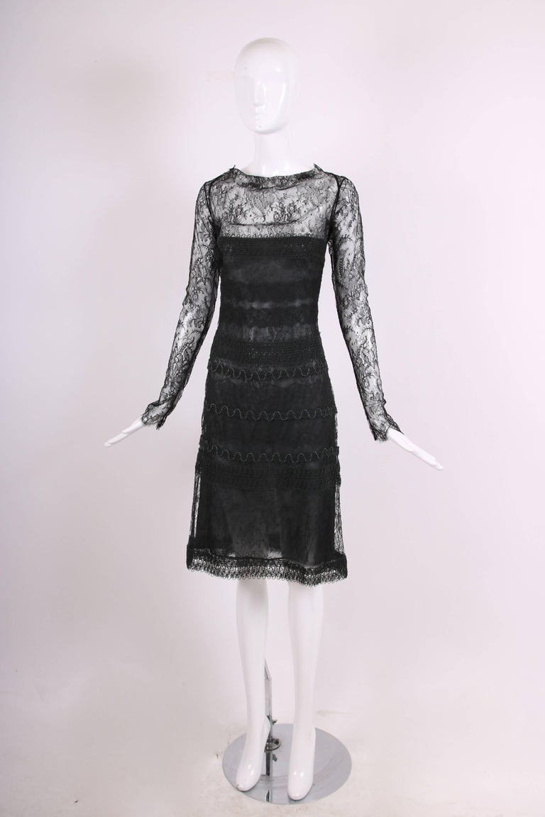 Vintage Guy Laroche Couture Black Lace Illusion Cocktail Dress In Excellent Condition For Sale In Los Angeles, CA