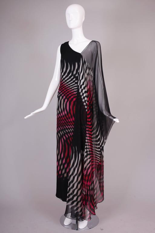 Black 70s Hanae Mori Couture Op Art Chiffon Gown w/Asymmetric Shoulder For Sale