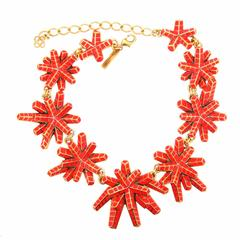 Oscar De La Renta Red Star Statement Necklace