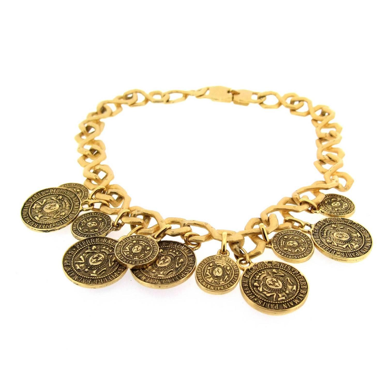 balmain gold coin necklace at 1stdibs