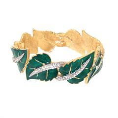Jomaz Ivy Leaf Enamel Crystal Clamper Bracelet