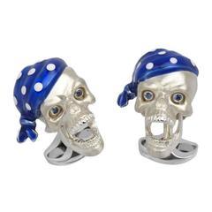 Silver Pirate Skull Cufflinks Blue Sapphire by Deakin & Francis