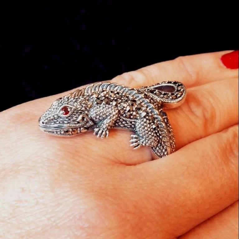 Silver Lizard Iguana Marcasite Ring at 1stdibs