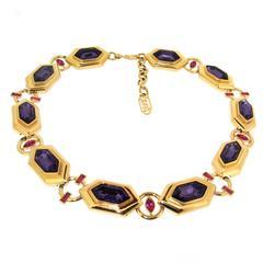 Yves Saint Laurent Purple Crystal Necklace YSL
