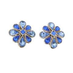 Yves Saint Laurent Blue Crystal Earrings YSL