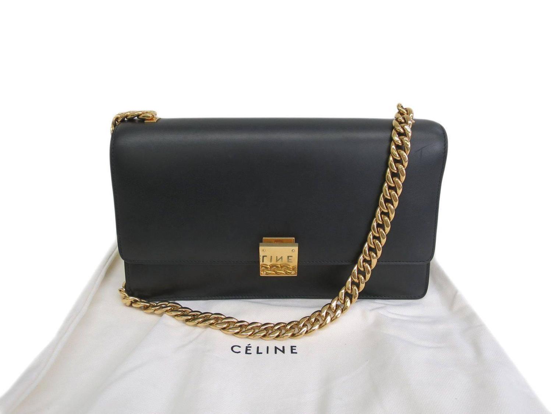 0ee4ad10880 Celine Black Calfskin Leather Gold Chain Hardware Flap Box Shoulder Bag