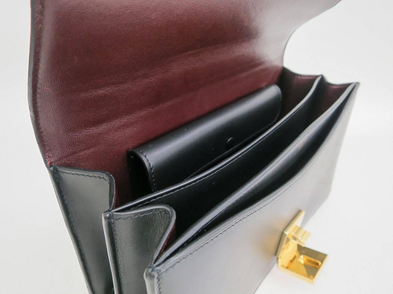 Celine Black Calfskin Leather Gold Chain Hardware Flap Box ...