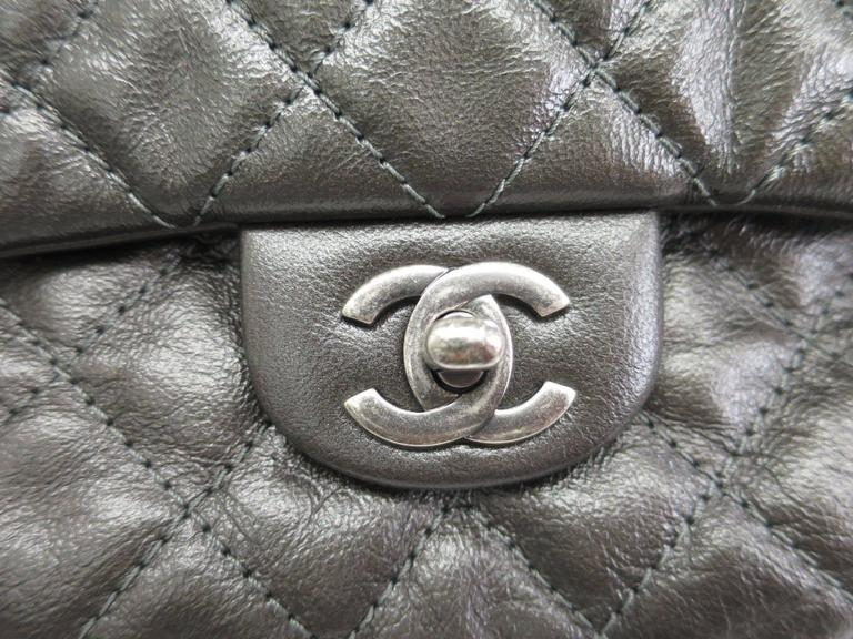 Chanel Gunmetal Black Gray Quilted Lambskin Silver Chain Hardware Backpack Bag In Good Condition For Sale In Chicago, IL